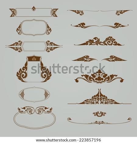 set of thai ornament, thai vintage elements design,thai culture decorative border template. - stock vector