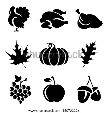 Set of Thanksgivin icons isolated on white background - stock vector