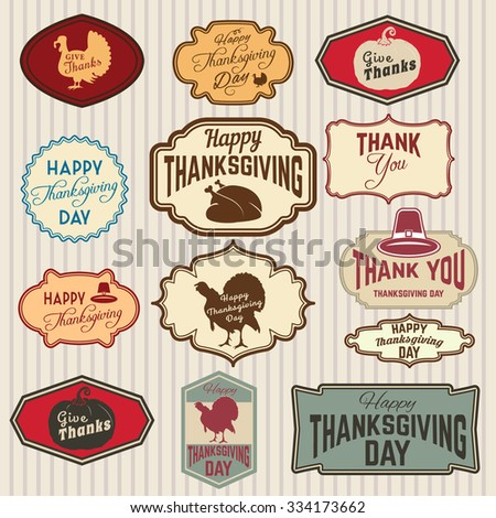Set of Thanksgiving clip-art. Vector tags, labels and badges with Thanksgiving symbols. Logo,badge or label design template. Thank You Day - stock vector