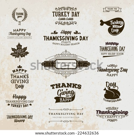 Set of Thanksgiving Day Labels. Holiday Designs. Vintage Paper Background. - stock vector