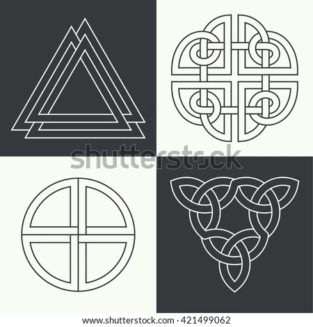 Set Ancient Symbols Executed Linear Style Stock Vector Royalty Free
