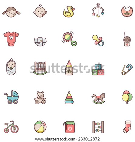 Set of the baby related icons - stock vector