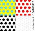 Set of the backgrounds executed from hexagons, the national flags of Ukraine painted in colors and Poland - stock photo