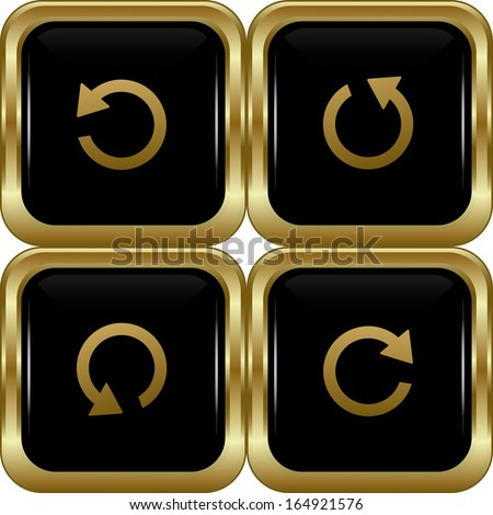 Set of the black gold return buttons. Abstract vector illustration. - stock vector