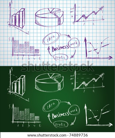 Set of the business  symbols drawn by a chalk on a blackboard and a pen on paper sheet. - stock vector
