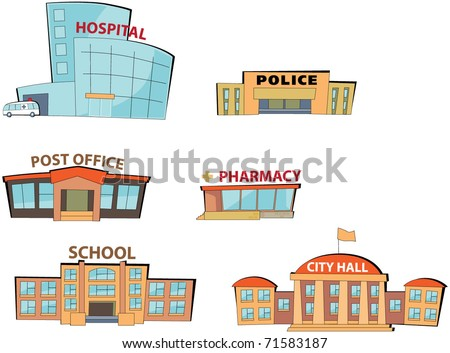 Set of the cartoon public buildings. Expansion of the series. - stock vector