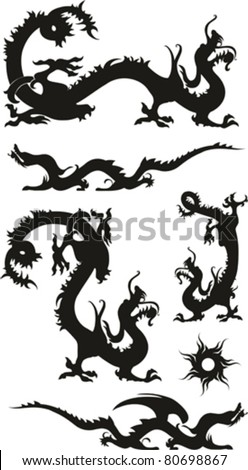 Set of the Chinese dragons, tribal tattoo isolated on White background. Vector illustration - stock vector