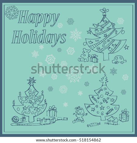 Set of the christmas trees on the snowflakes background. New Year invitation card concept.