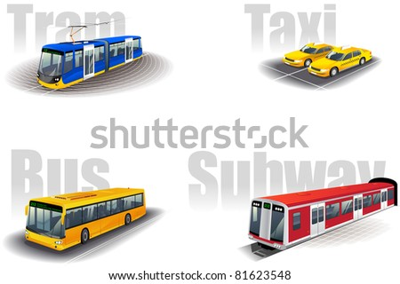 Set of the city public transport icons - stock vector