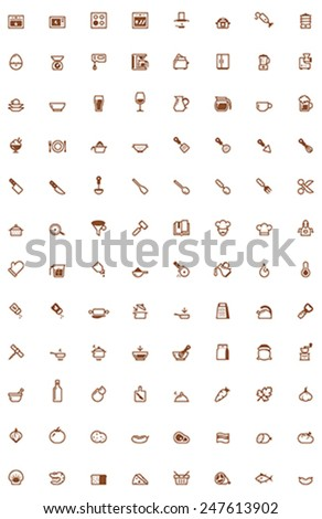 Set of the cooking related icon - stock vector