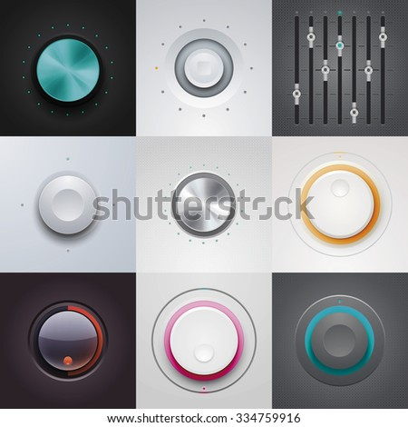 Set of the detailed UI elements with knob, switches and slider in metallic style. - stock vector