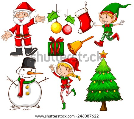 Set of the different christmas templates on a white background