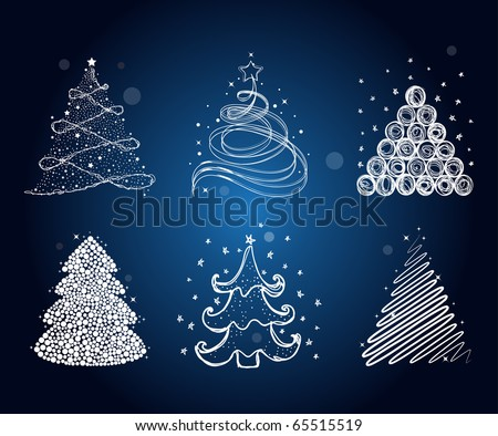 Set Different Christmas Trees Stock Vector 65515519 - Shutterstock