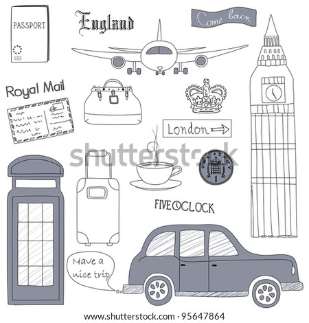 Set of the doodle sketches. London  travel icons.