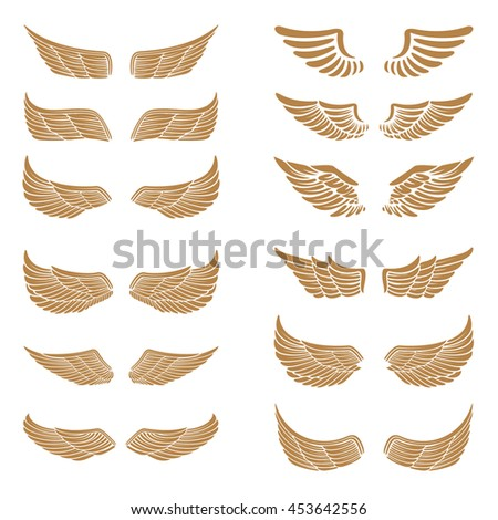 Set of the emblems with wings in gold style isolated on white background.  Design element for logo, label, emblem, sign. Vector illustration. - stock vector
