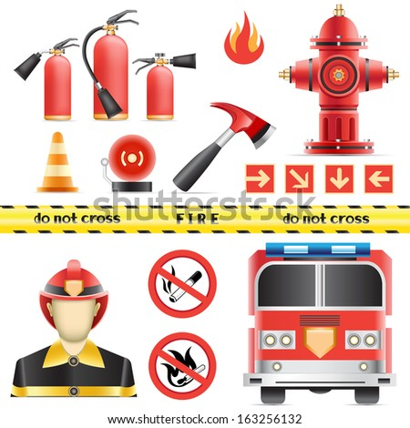Set of the fire objects isolated on the white background - stock vector