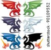 Set of the five most popular kinds of dragons: red, green, blue, black and white. Stylized flames are also included, in case you want to make them breathe fire. - stock vector