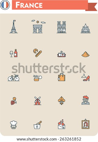 Set of the France traveling related icons - stock vector