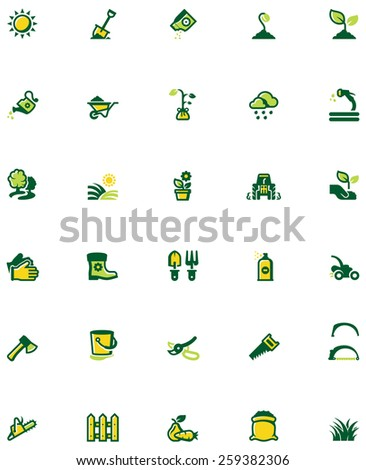 Set of the gardening related icons - stock vector