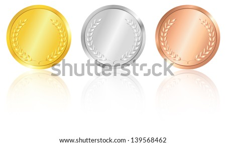 Set of the gold, silver and bronze medals with the image of a laurel wreath. Vector illustration. - stock vector