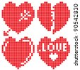 Set of the hearts, to the embroidery, - stock vector
