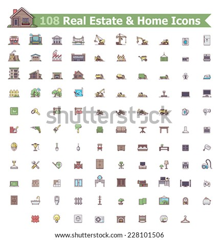 Set of the home related icons - stock vector