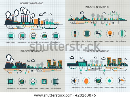 Set of the infographic template. The power supply of town by coal stations. - stock vector
