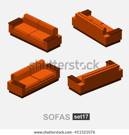 Set of the isolated isometric sofa. Vector sofa. Illustration sofa. Office sofa, sofa bed in living room, sofa in cafe. Colorful sofa.  - stock vector