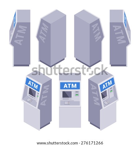 Set of the isometric ATMs. The objects are isolated against the white background and shown from different sides - stock vector