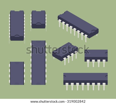 Set of the isometric microchips. The objects are isolated against the green background and shown from different sides - stock vector