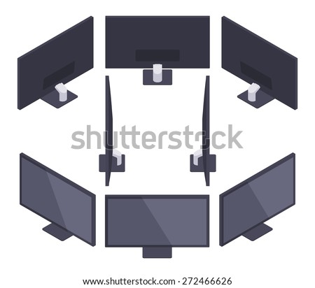 Set of the isometric Monitors. The objects are isolated against the white background and shown from different sides - stock vector