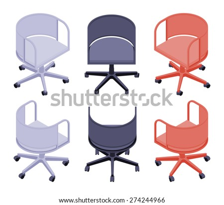 Set of the isometric office colored chairs. The objects are isolated against the white background and shown from different sides - stock vector