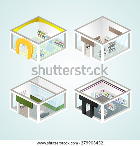 Set of the isometric shops and other elements (Gifts, Shoes, Cash). Vector illustration. - stock vector