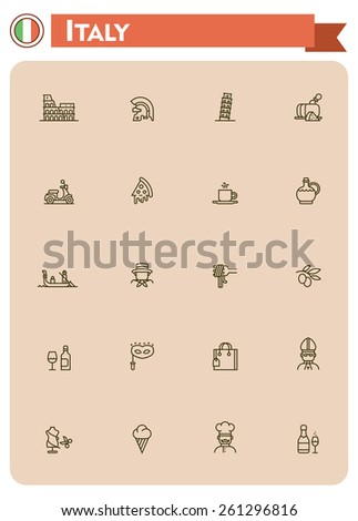 Set of the Italy traveling related icons  - stock vector