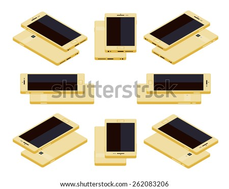 Set of the lying isometric generic gold smartphones. The objects are isolated against the white background and shown from different sides - stock vector
