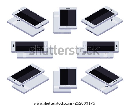 Set of the lying isometric generic white smartphones. The objects are isolated against the white background and shown from different sides - stock vector