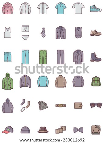 Set of the men clothes - stock vector