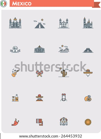 Set of the Mexico traveling related icons - stock vector