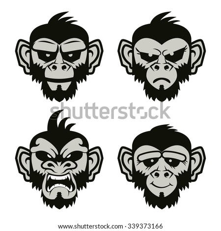 Set of the monkeys heads. 2016 year of the monkey. Label,sticker design template. Vector illustration. - stock vector