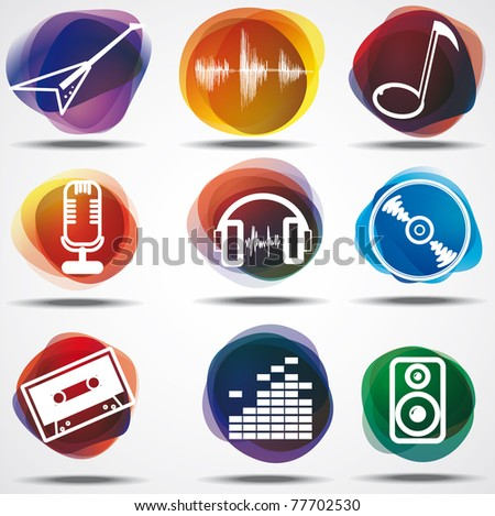Set of the music symbols - stock vector