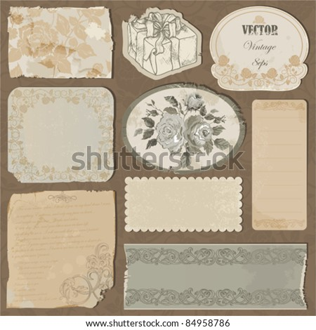 Set of the old torn paper, labels and pieces of wallpaper with decorative elements and roses - stock vector