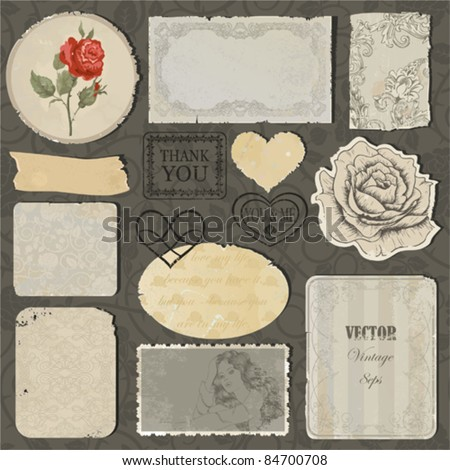 Set of the old torn paper, labels, hearts and pieces of wallpaper with decorative elements, stamps and roses - stock vector