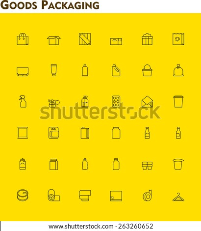 Set of the packaging  related icons - stock vector