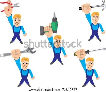 Set of the person in overalls with different mounting tools - stock vector
