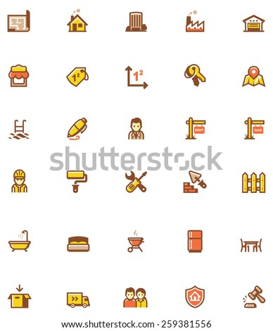 Set of the real estate related icons - stock vector