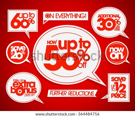 Set of the sale coupons, banners, signs or tags, speech bubbles forms and ribbons. Take an extra bonus, save up to, further reductions, now on. - stock vector