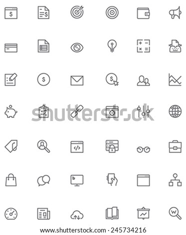Set of the SEO related glyphs - stock vector