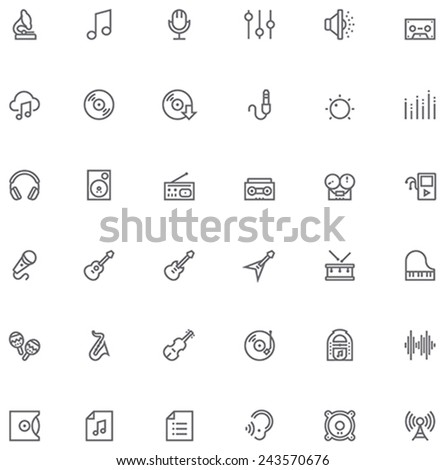 Set of the simple music and audio related glyphs - stock vector