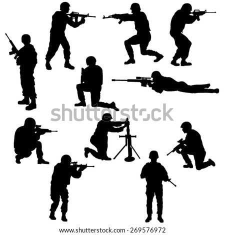 Set of the Soldiers Silhouettes. Vector Image - stock vector