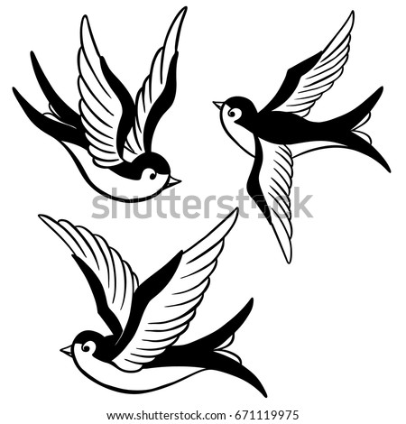 set swallow icons design elements poster 671119975 shutterstock. Black Bedroom Furniture Sets. Home Design Ideas